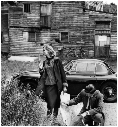 Tania Mallet (with unidentified male) is wearing 7:8 coat and skirt in dark olive green wool jersey, sweater and coatlining in in beige and green knit by Tricosa, photo by Vernier, Vogue UK, Sept. 15, 1960