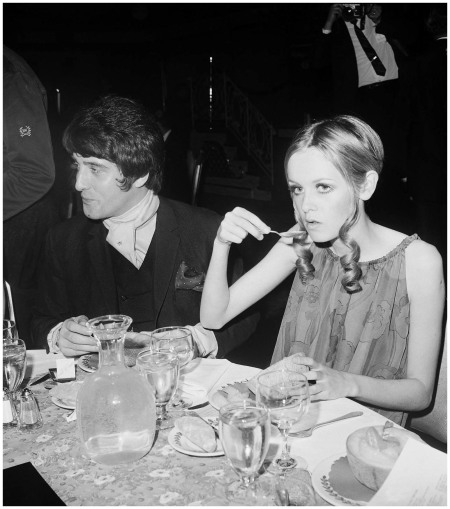 Twiggy Eating at Party