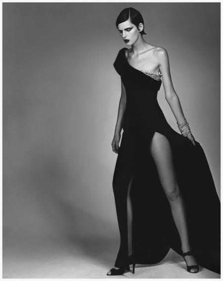 A punky Stella Tennant in Ferrè spectacular split-skirted dress Photo Craig McDean 1996
