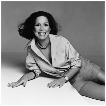 Actress Mary Tyler Moore, wearing cuffed khaki shorts and a crÍpe de chine shirt by Calvin Klein 1975 Francesco Scavullo
