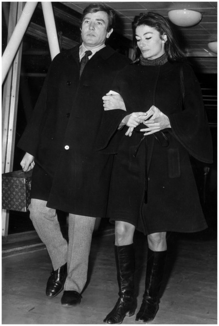 British actor Albert Finney with his girlfriend Anouk Aimee at a London airport carrying a Louis Vuitton travel case Photo By Getty Images