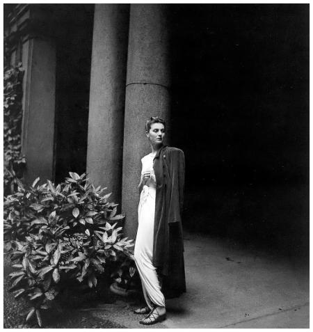 Countess Visconti (Simonetta Visconti fashion designer) wearing fashion of Ventura, photo by Clifford Coffin, Rome, July 1946