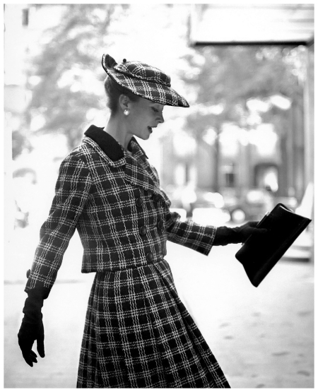 Gigi in plaid tweed suit and matching hat, photo by Georges Dambier, ELLE, 1957