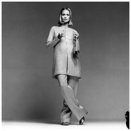 Lauren Hutton in Halston Matching Ensemble Francesco Scavullo 1975