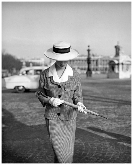 Model in a tailored suit by Jean Patou, photo by Georges Dambier, ELLE, March 4, 1957
