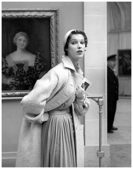 Model in tweed coat over wool dress by Jean Patou, photo by Georges Dambier, Musée de l'Orangerie, ELLE, March 29, 1954