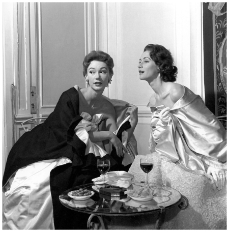 Sophie and Gigi in evening gowns, photo by George Dambier for ELLE