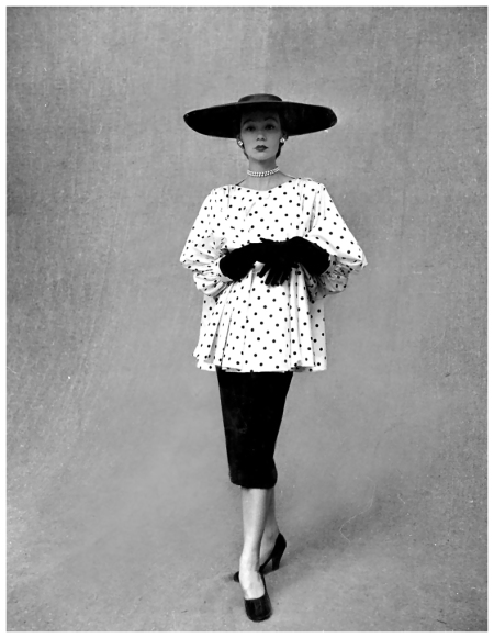 Sophie Malgat in polka dotted smock top over black skirt by Balenciaga, photo by Gordon Parks, Paris, February 1951
