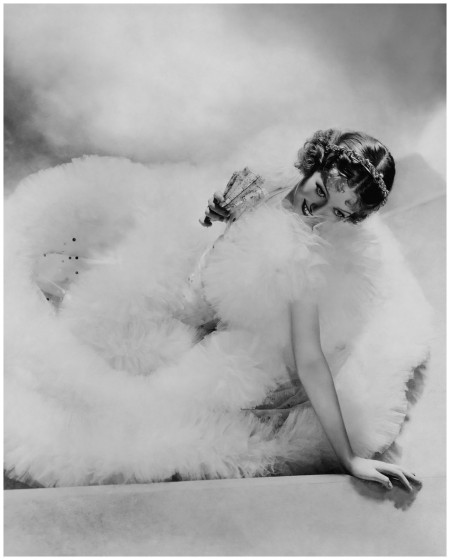 Actress Loretta Young reclines in Tulle. Photographed by George Hoyningen-Huene 1934