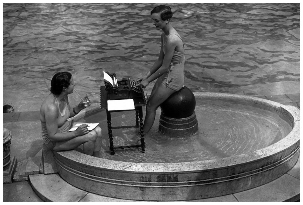 Circa 1937 Two City Typists At Work In An Open Air