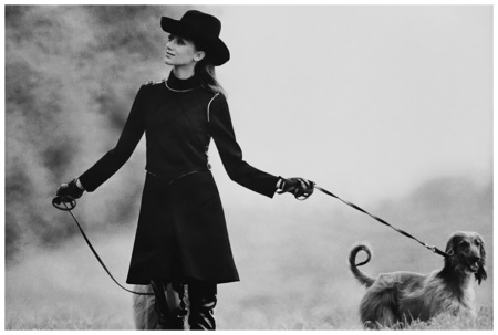 Marisa Berenson in Jersey Vest and Dress with Afghan Hounds 1968 Photo Arnaud de Rosnay
