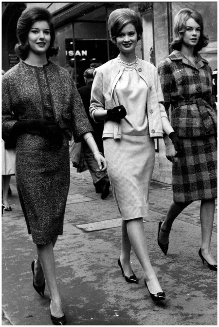 1960 - As a graduate of Lucie Clayton's modelling school, Jean - on the right - was photographed with fellow pupils Photo By Rex Features