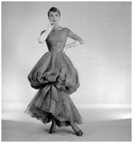 Christa Päffgen (aka Nico) in evening gown by Jean Dessès, photo by Willy Maywald, 1957