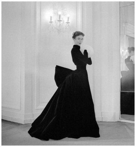 Gigi in velvet evening gown featuring a bustle in the back by Jacques Griffe, photo by Willy Maywald, Paris, 1951