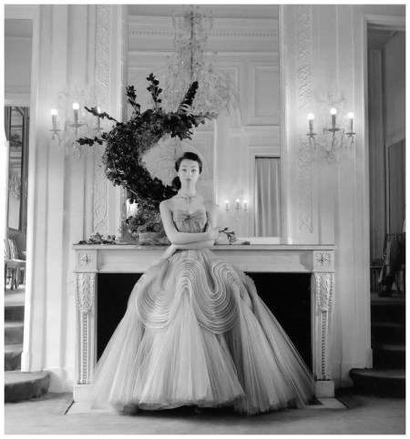 Ivy Nicholson in intricately sculpted evening gown by Jacques Griffe, photo by Willy Maywald, Paris, 1952