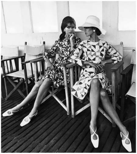 JULY 1966 - Photographed by Eugene Vernier for British Vogue in a Christiane Bailly geometric print dress