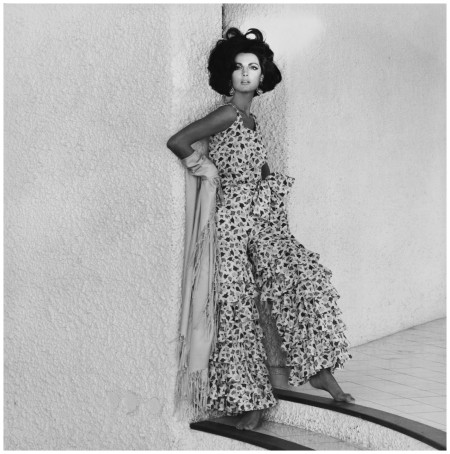 Leombruno-Bodi model in floral-print pajamas by Ken Scott with Flamenco ruffled pants in 1963