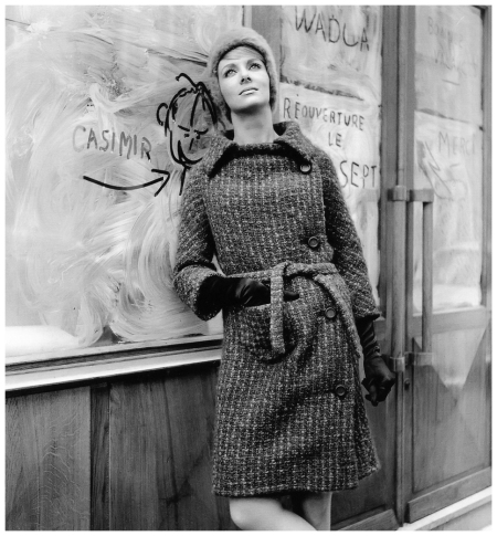 Model in coat by Pierre Cardin, photo by Willy Maywald, Paris, 1965