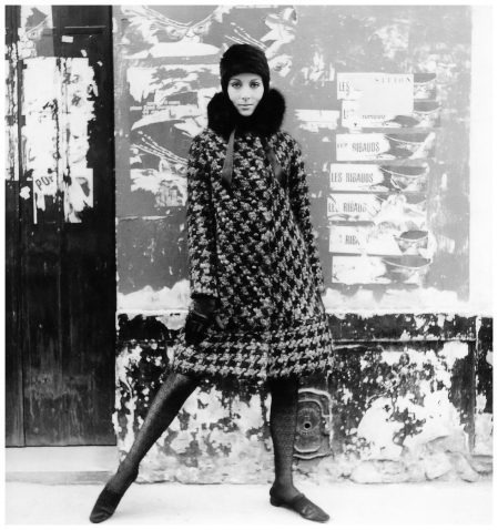 Model in large houndstooth coat with fox collar by Pierre Cardin, photo by Willy Maywald, Paris, 1965