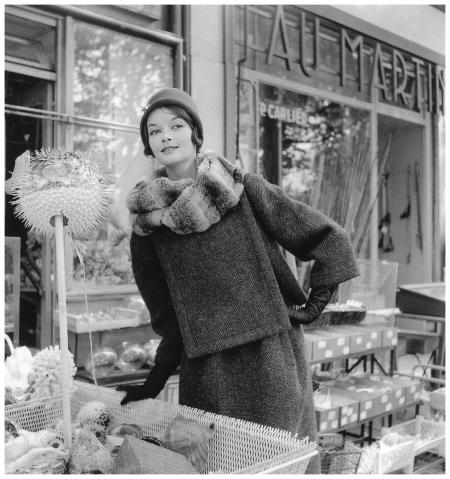 Model in suit with chinchilla collar by (Jules Crahay) Nina Ricci, photo by Willy Maywald, Paris, 1963