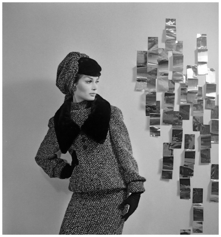 Model in suit with fur collar and matching hat by Marc Bohan, photo by Willy Maywald, Paris, 1962