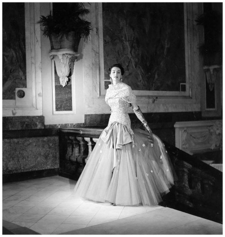 Model in tulle and lace evening gown by Jean Dessès, photo by Willy Maywald, Paris, 1950