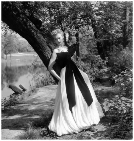 Model in velvet and chiffon evening dress by Jacques Griffe, photo by Willy Maywald, Paris, 1955