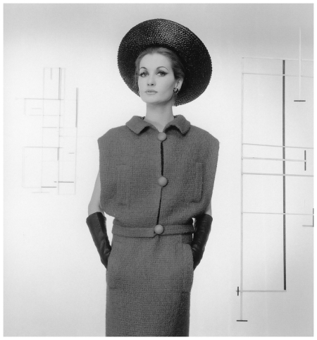 Model in wool knit two-piece dress by Marc Bohan, photo by Willy Maywald, Paris, 1962