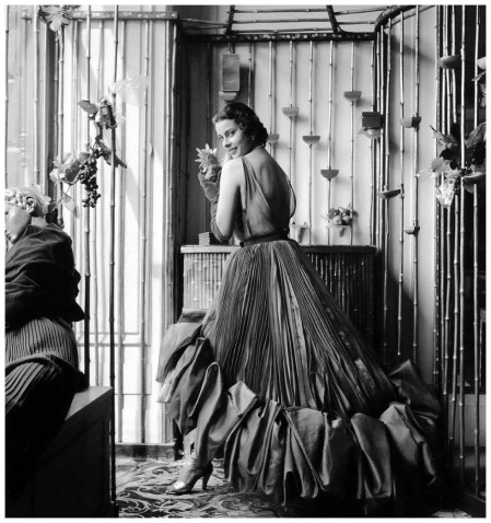 Pleated organza evening gown by Schiaparelli, photo by Willy Maywald, Paris, 1950