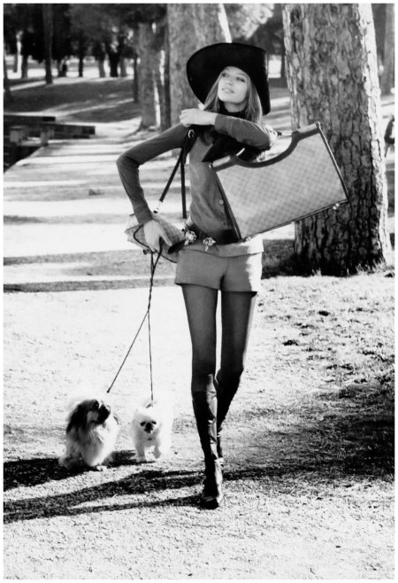 Veruschka Walking Dogs in the Borghese Gardens