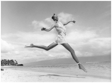 Veruschka Jumping on Beach