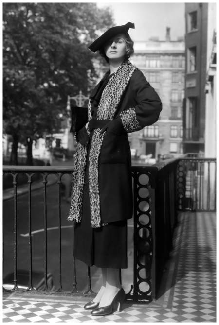 A three-quarter length coat with leopard skin trimming by Marjory Castle Fashions. (Photo by Sasha:Getty Images) 1934