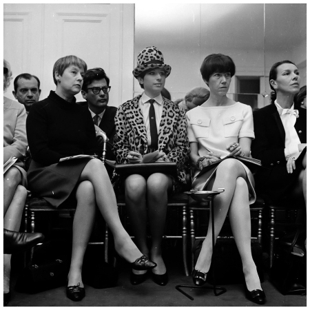 American actress and singer Barbra Streisand attends a Chanel fashion show in Paris, wearing a leopard skin suit. Photographer Richard Avedon is seated in the second row behind Streisand. (Photo by Reg Lancaster:Getty Images)