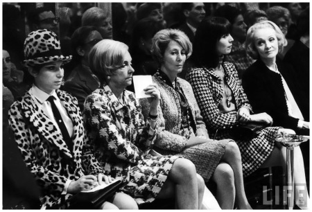 Barbara Streisand and others, Marlene Dietrich, Elsa Martinelli, wearing Chanel suits at Chanel fashion show 1966 Bill Eppridge