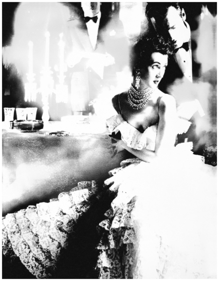 In This Year of Lace, Dovima, dress by Jane Derby, the Plaza Hotel, New York, 1951. Reinterpreted 1994