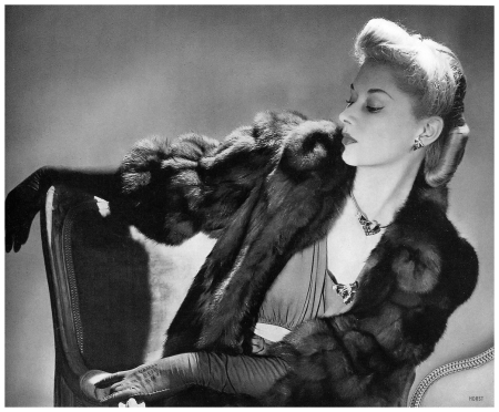 Lisa Fonssagrives Wearing a Hudson Bay sable coat from Stein and Blaine and Tiffany's jewelry. Photographed by Horst P Horst