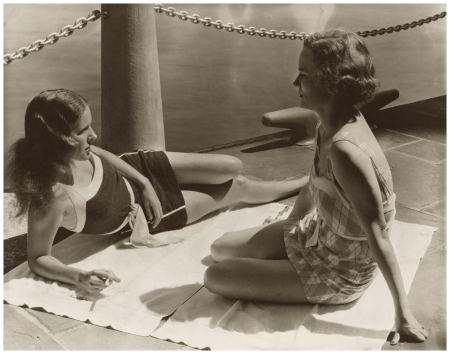 Mrs. Warren Leslie Jr. and Mrs. George G. Bourne lounging in their swimsuits at the River Club photo Toni Frissell 1933