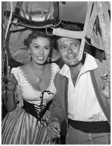 Sophia Loren and Marcello Mastroianni in the film %22La Bella Mugnaia%22 (The Miller's Wife), photo by Pierluigi Praturlon 1955