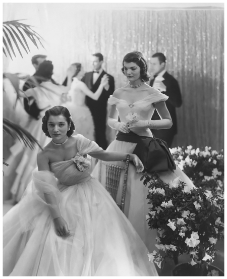 American society had its own royalty which was captured by Sir Beaton. Sisters Jacqueline (Kennedy Onassis) and Lee Bouvier (Radziwill) were captured for Vogue as debutantes in 1951 b