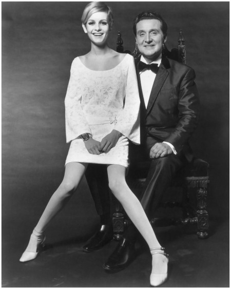 British model Twiggy with actor Patrick Macnee - 1966