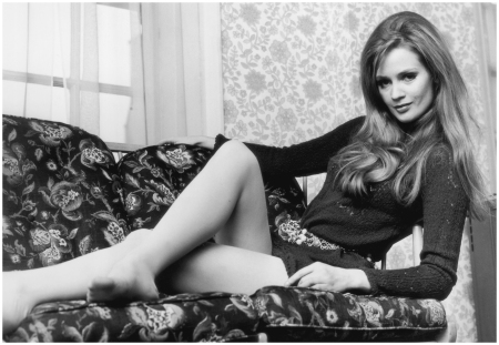 Model Celia Hammond relaxes in a knitted mini dress and chain belt-1968 (Photo by Reg Burkett:Hulton Archive:Getty Images)