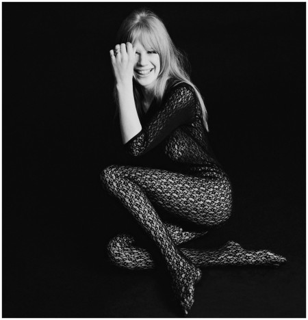 Singer and actress Marianne Faithfull posing in a black lace bodystocking,1966. (Photo by Terry O'Neill:Getty Images)