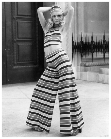 Springwear, circa 1970s Model wears a Lollipop, deckchair-striped halter top and trousers from Mary Quan
