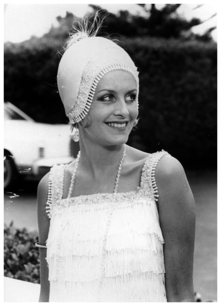 Twiggy wearing a 1920s-style beaded cap and dress 1962 (Photo by Evening Standard:Getty Images)