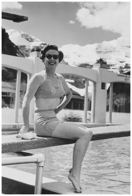 Vacationing in Canada. Lake Louise, Canada Movie actress Joan Crawford  1950