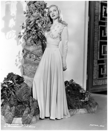 Veronica Lake Posing in evening wear, circa 1940