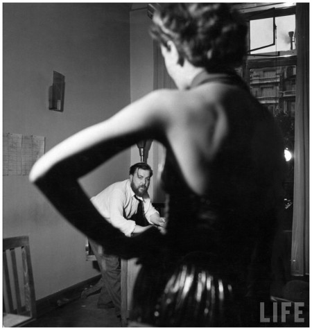 Christian Berard sketching a model in the offices of Paris Vogue 1937 Roger Schall