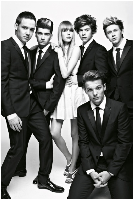 Photographed by Patrick Demarchelier wearing a Christian Dior dress - with One Direction - for the December 2012 issue of British Vogue