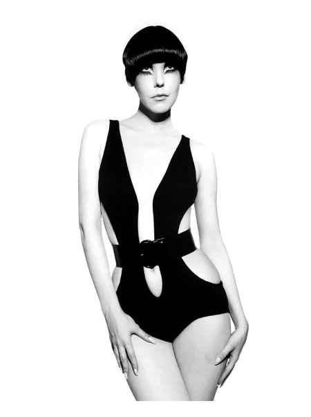 Resort 1968, black wool-knit %22below-the-navel%22 swimsuit with patent leather belt from The Gernreich Book