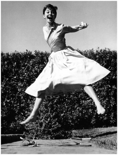 Philippe Halsman - Actress Audrey Hepburn jumping. 1955